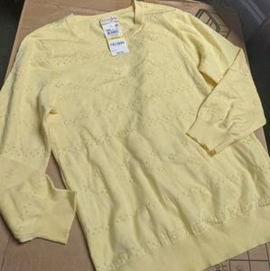 Maison Jules Pointelle-Knit Cropped Sweater Yellow